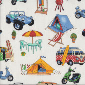 Beachside Kombi Camping Outdoors Dune Buggy BBQ Surfing Quilting Fabric
