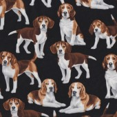 Beagle Dogs on Black Pet Quilting Fabric