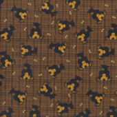 Black Bears with Beehives Bees on Brown Quilting Fabric