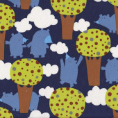 Bears in Wood on Navy Trees Get Together Quilting Fabric