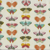 Beautiful Orange Green Butterflies on Cream Quilting Fabric