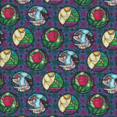 Beauty and The Beast Red Roses on Purple Licensed Quilting Fabric