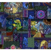 Beauty and The Beast Stained Glass Licensed Quilting Fabric