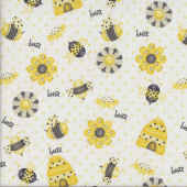 Bees Flowers Buzz on White Bee Happy Quilting Fabric