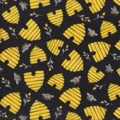 Bees Beehives on Black Save The Bees Quilting Fabric