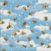 Bees Bumbles Bees Blue Sky Clouds Insect Quilting Fabric