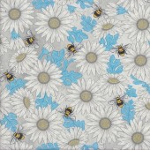 Daisies Feed The Bees on Light Grey Flowers Quilting Fabric