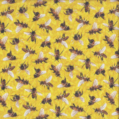 Bees on Yellow Frolicking Fields Insect Quilting Fabric