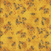 Bees on Yellow Honeycomb Quilting Fabric