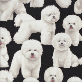 Bichon Frise Dogs on Black Pet Animal Quilting Fabric