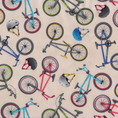 Bicycles Bikes Helmets on Beige Boys Mens Quilt Fabric