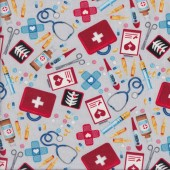 Nurses Doctors Medical Supplies on Grey Big Hugs Quilting Fabric
