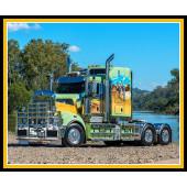 Big Rig Truck Boys Mens Quilt Fabric Panel
