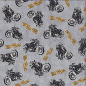 Biker For Life Motorbikes Quilting Fabric
