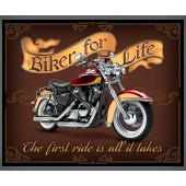 Biker For Life Motorbike Motorcycle Mens Boys Quilt Fabric Panel