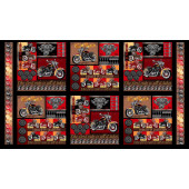 Biker For Life Motorcycles Wheels Motorbikes Squares Quilting Fabric Panel