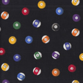 Billiard Balls on Black Sports Mens Boys Quilting Fabric
