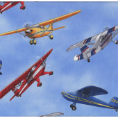 Bi Planes Blue Light Airplanes Aeroplanes Boys Kids Quilt Fabric