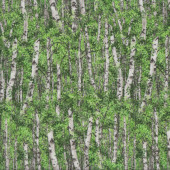 Birch Trees with Green Leaves Landscape Quilting Fabric