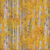 Birch Trees with Yellow Leaves Landscape Quilting Fabric