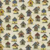 Birdhouses on Beige Sunshine Quilting Fabric