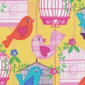 Colourful Singing Bird Cage and Flowers on Yellow Quilt Fabric