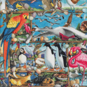 Birds of The World Parrots Flamingos Penguins Pelicans Quilting Fabric