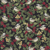 Birds and Holly Trees on Black quilting Fabric