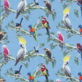 Australian Birds of The Bush Parrots Branches on Blue Quilting Fabric