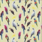 Australian Birds of The Bush Parrots Galah on Yellow Quilting Fabric