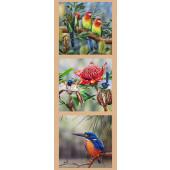 Australian Birds Rosella Wren Kingfisher Wildlife Quilting Fabric Panel