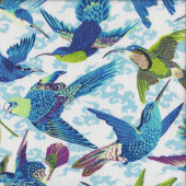 Birds Parrots in Flight Quilting Fabric