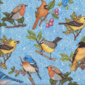 Birds on Branches on Blue Spring Symphony Quilting Fabric