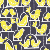 Bird Swing Yellow Birds on Swings Grey Lovehearts Quilt Fabric