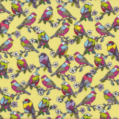 Feathered Friends Birds and Flowers on Yellow Quilt Fabric