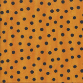 Black Dots on Orange  Me and My Ghoul Friends quilting Fabric