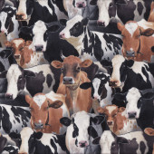 Black & White Brown Cows Farm Animal Country Dairy Quilting Fabric