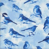 Blue Birds on Branches Sparrows Wildlife Quilting Fabric