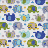 Blue Green Pretty Elephants on White Love Hearts Flowers Quilting Fabric