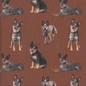 Blue Heelers on Brown Dogs Merino Muster Farm Quilting Fabric
