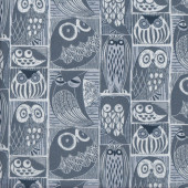 Cute Owls in Rectangles Blue Moon Quilting Fabric