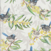 Blue Fairy Wren Wattle Flowers Native Australian Bird Quilting Fabric