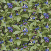 Blueberry Bush Blueberries Green Leaves Fruit Quilting Fabric