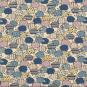 Blue Pale Yellow Hedgehogs on Cream Fabric