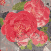Blushing Peonies on Grey Flowers Quilting Fabric