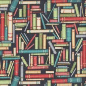 Books on Black Library Reading Quilting Fabric