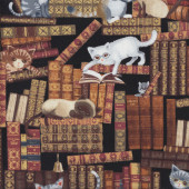 Old Antique Books with Cats Quilting Fabric