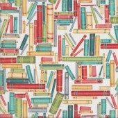 Books on White Library Reading Quilting Fabric