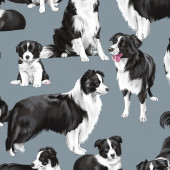 Border Collie Dogs Pet Animal Quilting Fabric