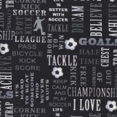 Soccer Words on Black Born To Score Sport Kids Quilting Fabric